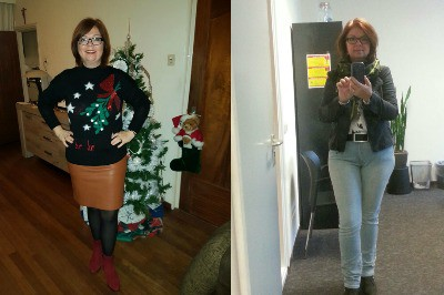voor en na foto van winkelen met een stylist