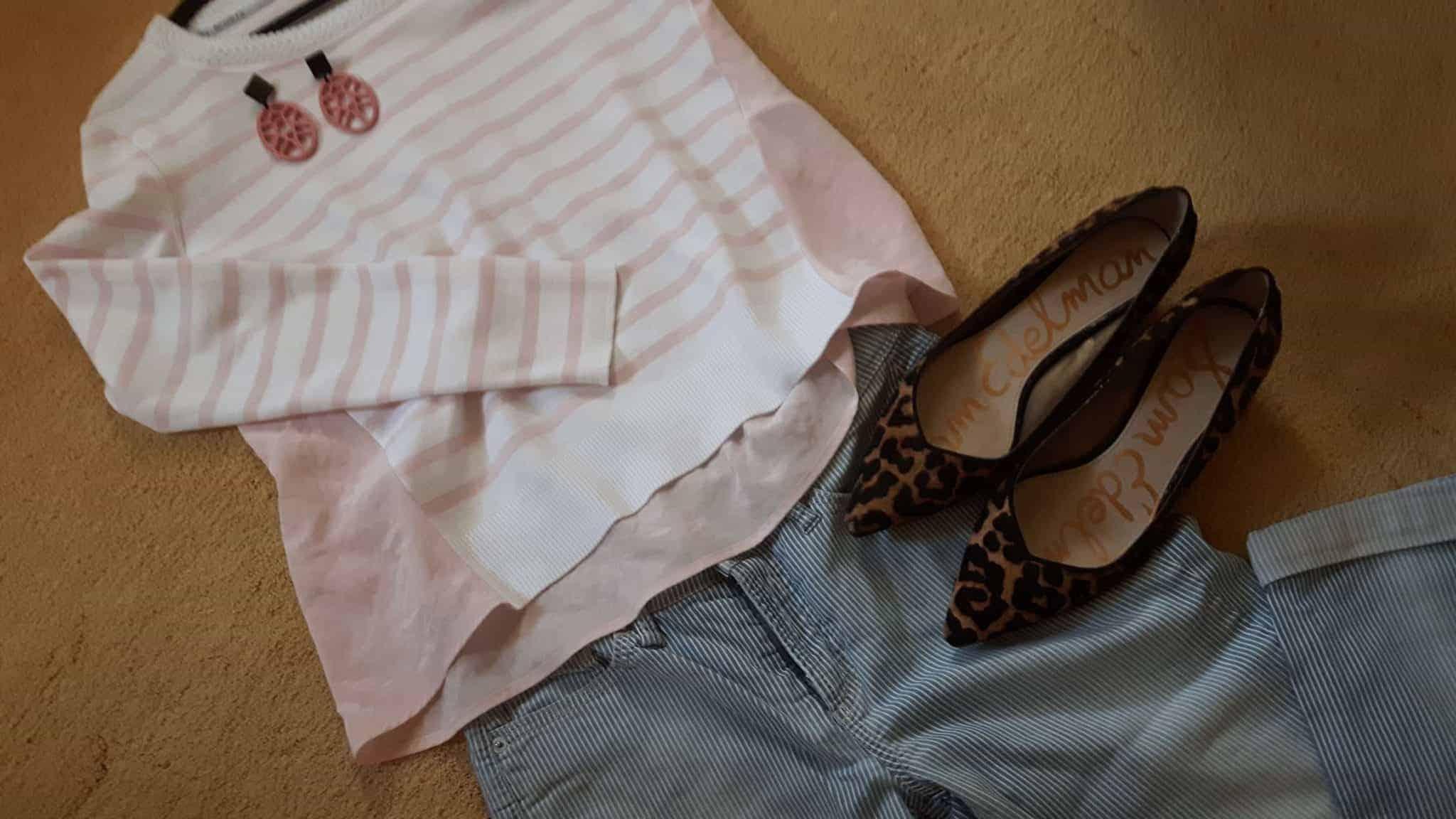 Gestreepte broek met panter schoenen