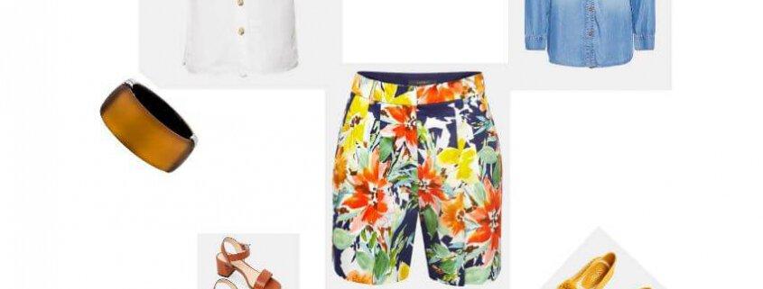Een langere shorts met een geklede top of blouse