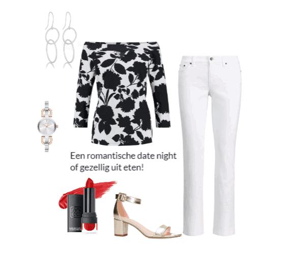Een zwart witte kledingcombinatie