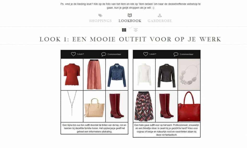 Combinaties uit je eigen garderobe in een virtual lookbook.