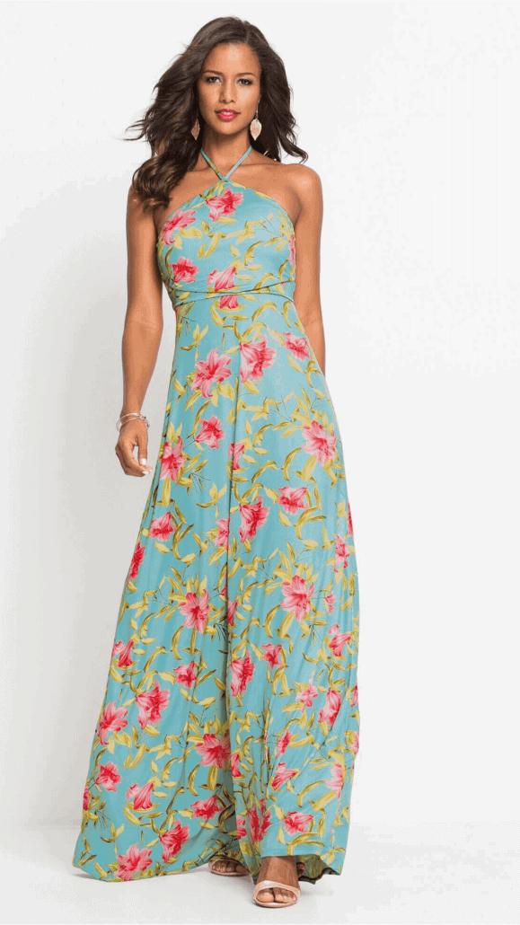 lange jurk geschikt voor bredere schouders